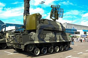 English: A Russian Tor-M1 SAM in 2008.