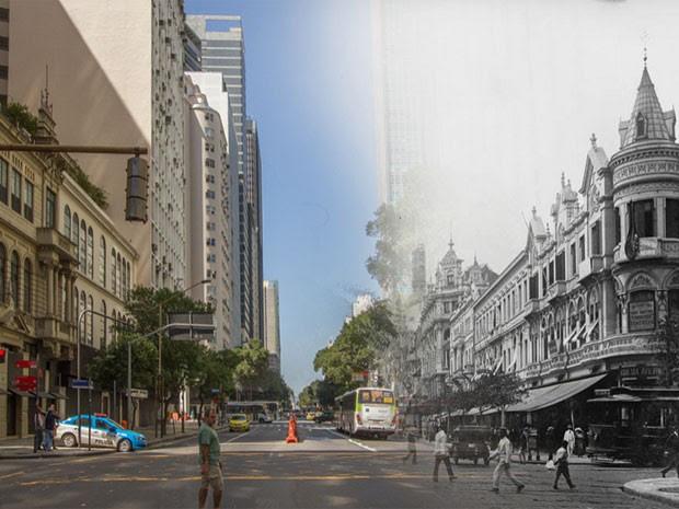 Registro antigo e atual do Centro do Rio (Foto: Augusto Malta / Marcello Cavalcanti)