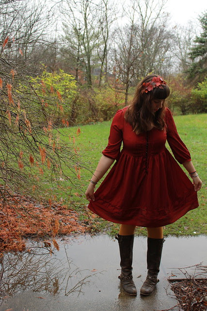 IMG_4620 - Version Thanksgiving outfit - leather boots, mustard tights, red babydoll dress, DIY fall-leaf hair wreath