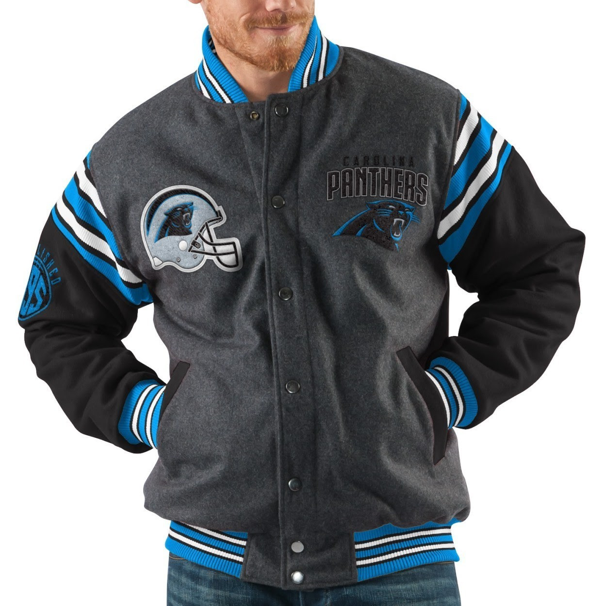 Carolina Panthers NFL Mens GIII quot;Edgequot; Reversible Wool Jacket  eBay