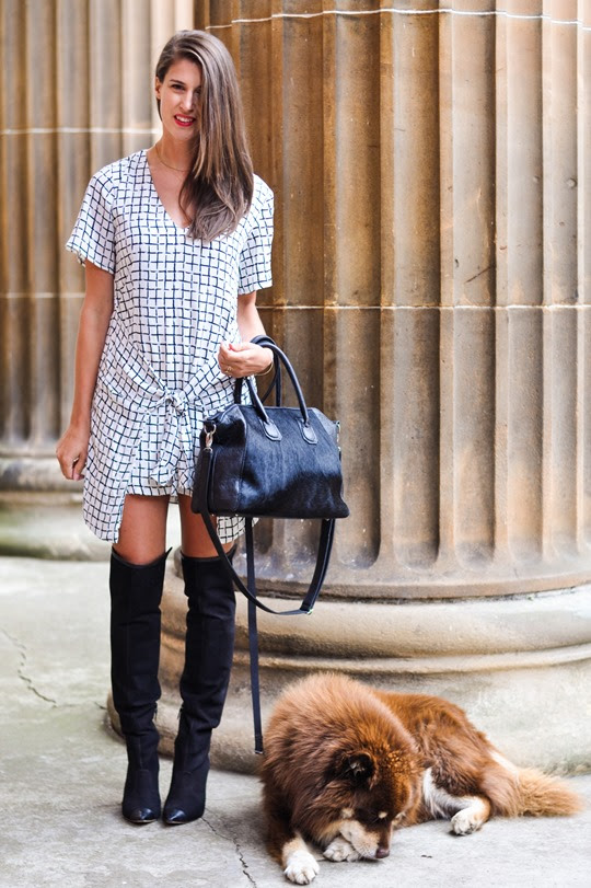 Thankfifi- Missguided checked knotted shirt dress - fashion blogger streestyle