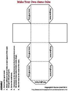 Math Worksheets   Kindergarten Time Dice Template   Teaching ...