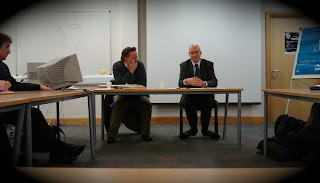Mick Fealty and Ciarán O'Kelly at a seminar at QUB's Institute of Irish Studies