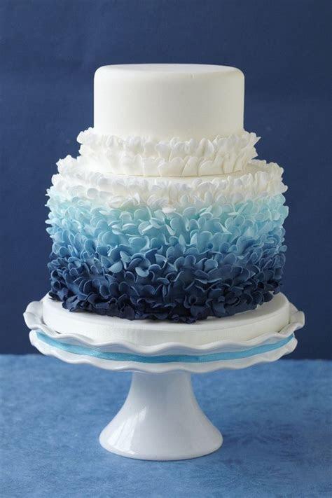 12 Fabulous Ombre Wedding Cakes   Blue Weddings   Ruffle