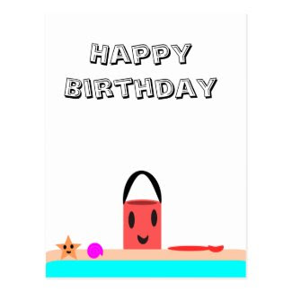 Happy Birthday Beach Fun Postcards
