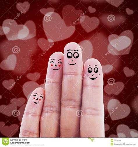 Finger Family Valentine Design Royalty Free Stock Images