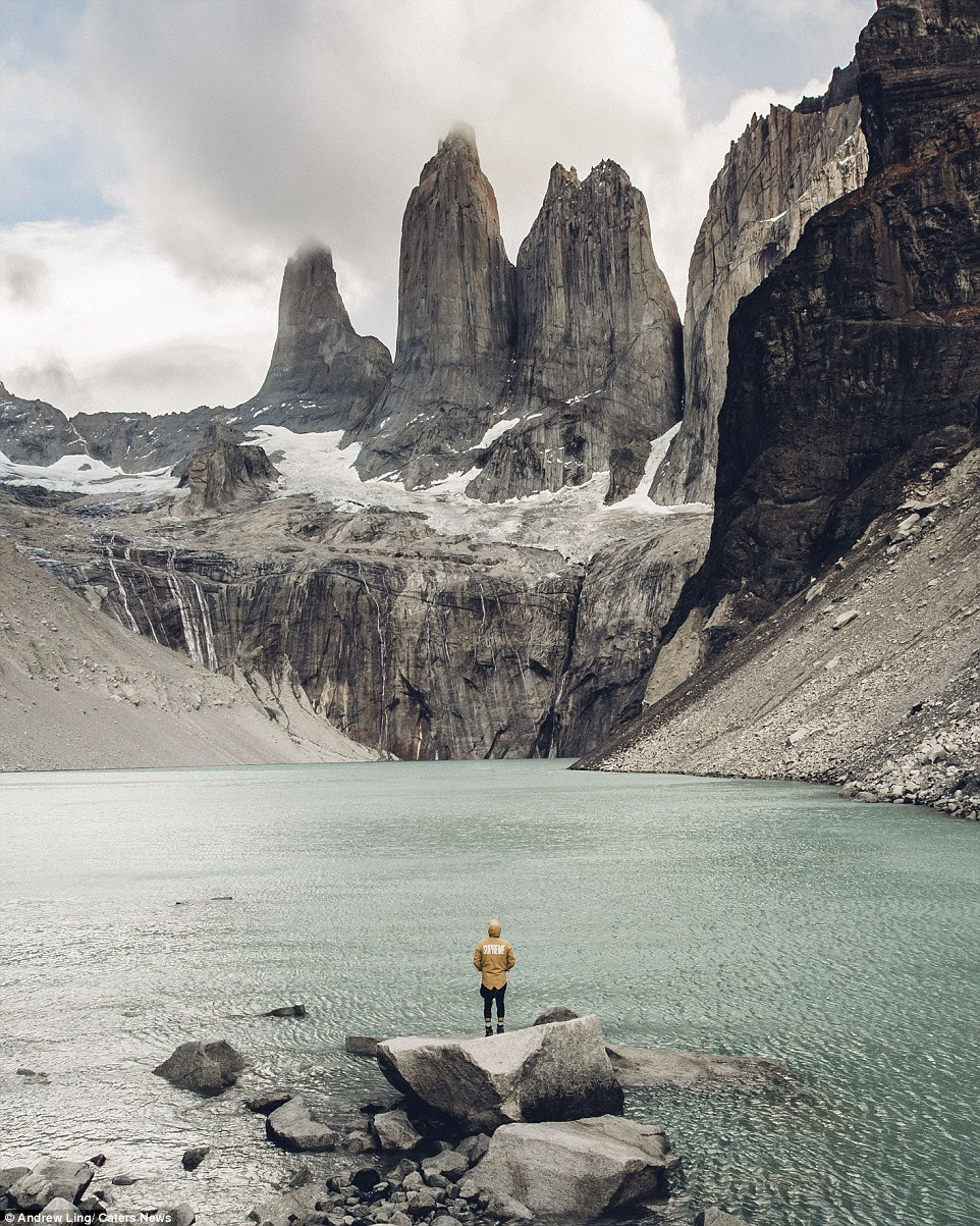 Andrew admits that for a while, he couldn't figure out a way to display how massive places were until adding a figure into the shot solved this problem. Here he is pictured at Torres del Paine National Park, Patagonia, Chile