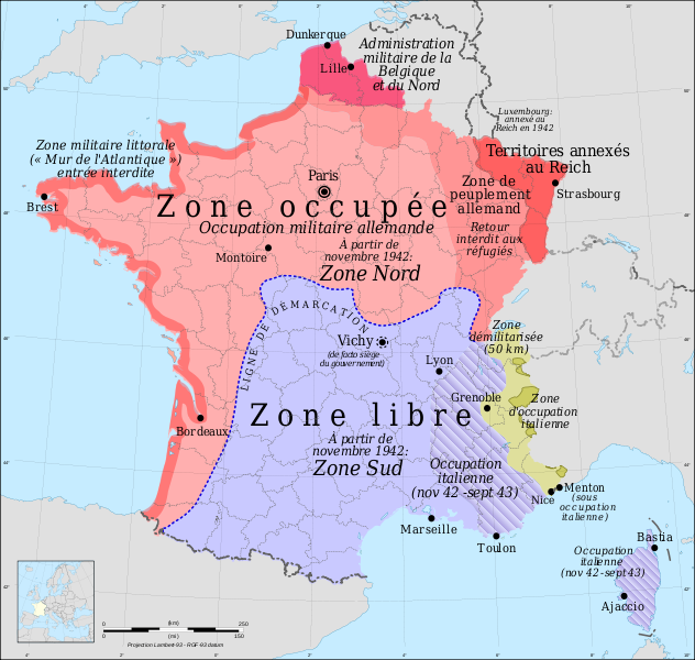carte france occupation