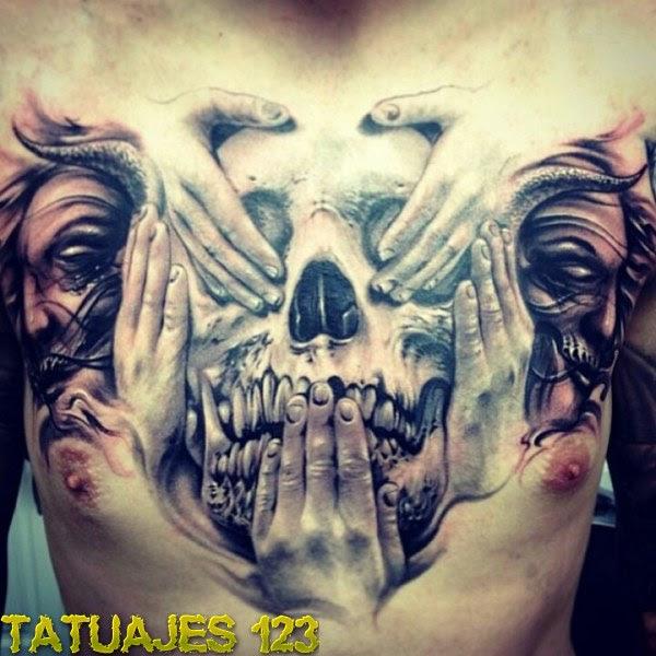 Calavera Y Manos En El Pecho Tatuajes 123