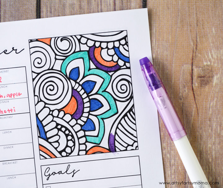 fill in the blank printable coloring weekly planner