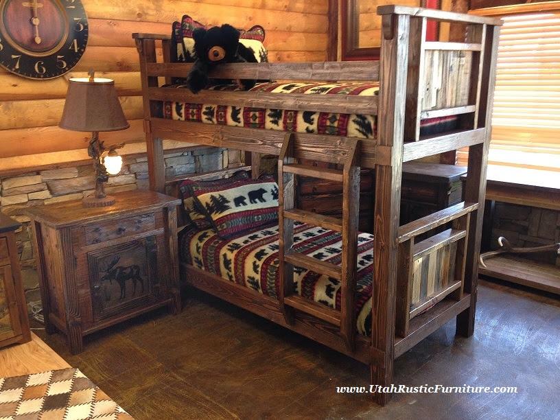 Bradleys Furniture Etc.  Rustic Log and Barnwood Bunk Beds