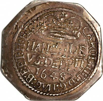 Reverse of 1648 Charles I Pontefract Shilling
