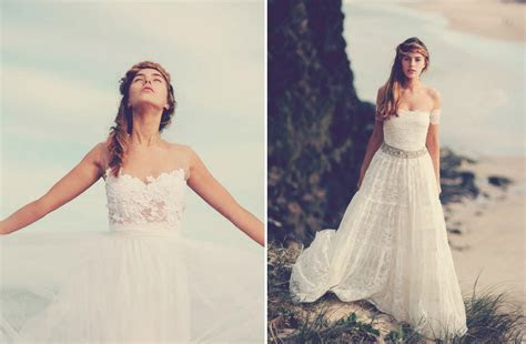 bohemian bride on the beach lace wedding gowns 4   OneWed.com