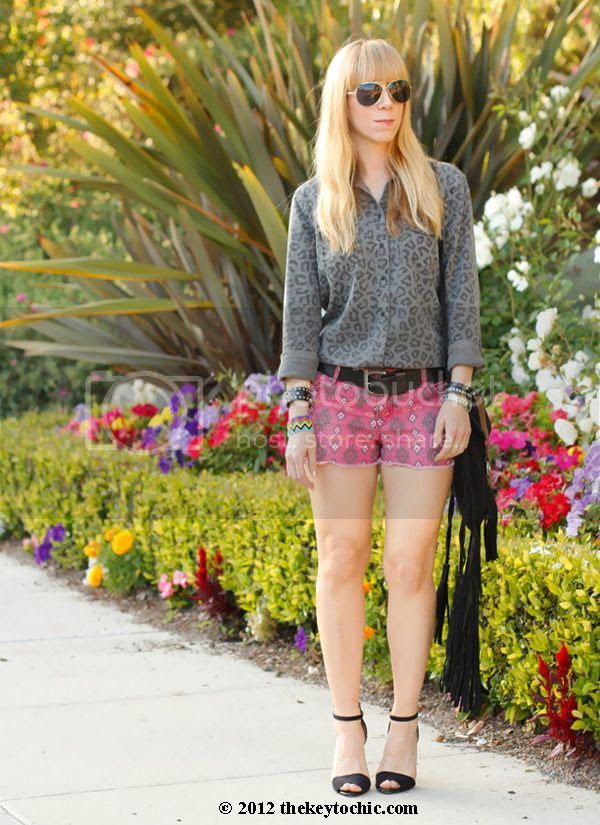 Equipment blouse, tribal shorts, Zara ankle strap heels, print mixing trend, Los Angeles fashion blogger