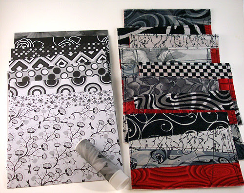 Fabric cards w/ envelopes - black and white