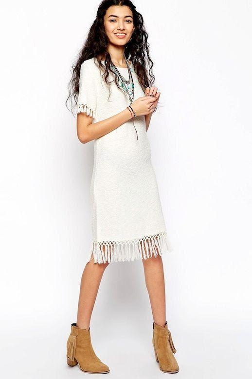 Le Fashion Blog Incredibly Stylish White Dresses With Fringed Hem Holiday Summer Style ASOS Slub Knit Dress With Fringing