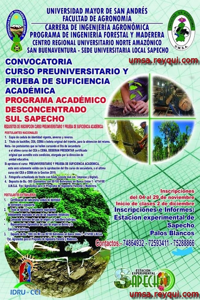 Ingeniería Forestal y Maderera UMSA 2020: Convocatoria al Curso Preuniversitario y prueba de Suficiencia Académica (Sede Sapecho)