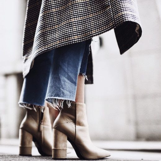 Le Fashion Blog Houndstooth Coat Raw Hem Distressed Jeans Nude Heeled Boots Via Happily Grey