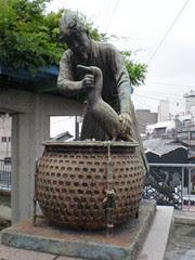 Statue of fisherman and cormorant, Gifu, Japan