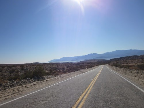 Dropping down Thousand Palms Canyon Rd