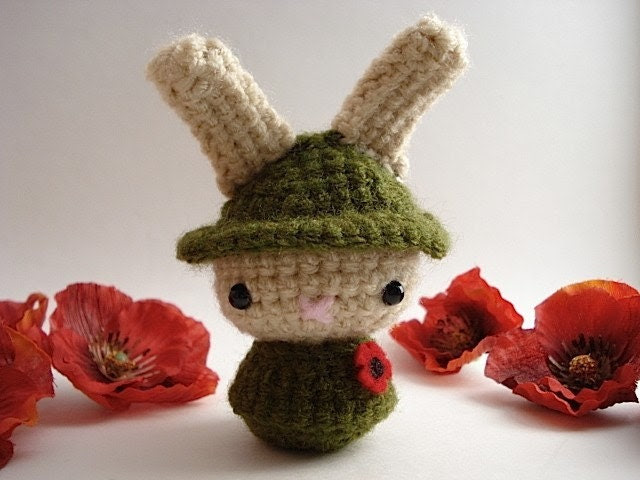 Remembrance Day Moon Bun - Amigurumi Bunny Rabbit