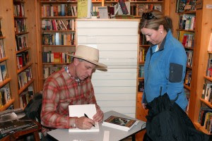 Buck Brannaman signs copies of his books and DVDs for fans at a bookstore in Sundance, Utah.