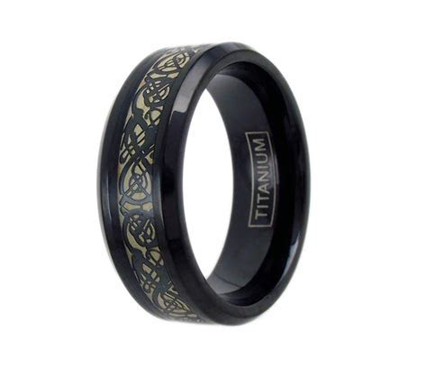 Black Celtic Dragon on Black Titanium Ring w. Cappucino