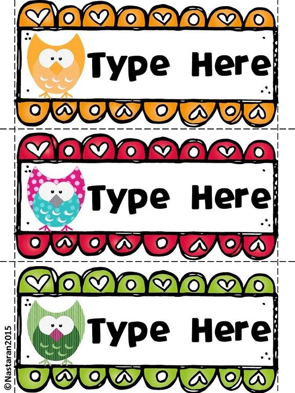 Editable Owl Themed Desk Name Tags