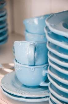 Townhouse blue crockery   More pastel inspiration here: http://mylusciouslife.com/prettiness-luscious-pastel-colours/