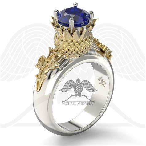 Thistle flower leaf Scottish engagement ring, Large stone