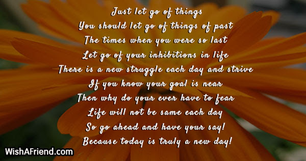 Just Let Go Of Things Encouragement Poem