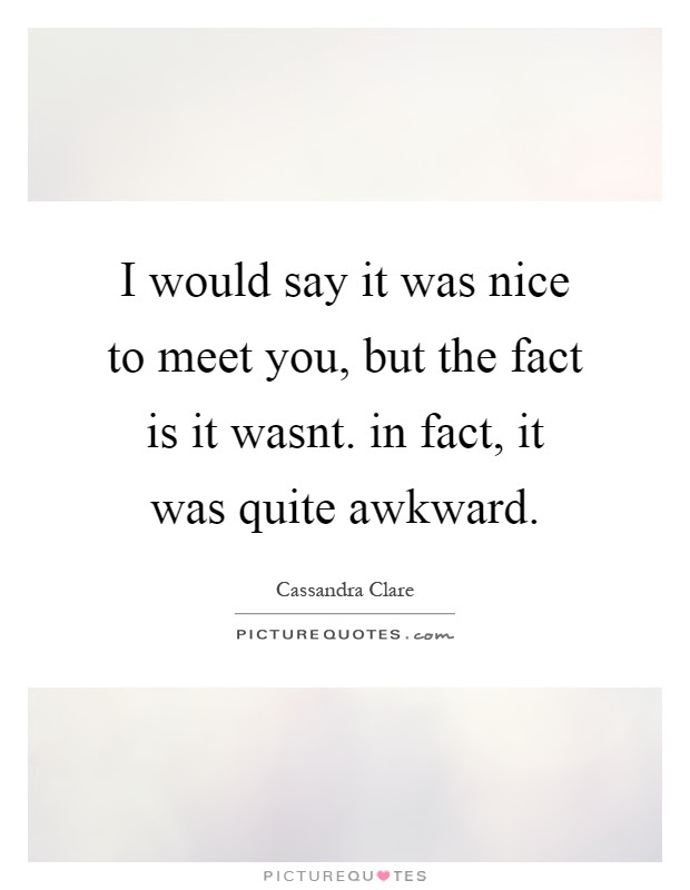 I Would Say It Was Nice To Meet You But The Fact Is It Wasnt