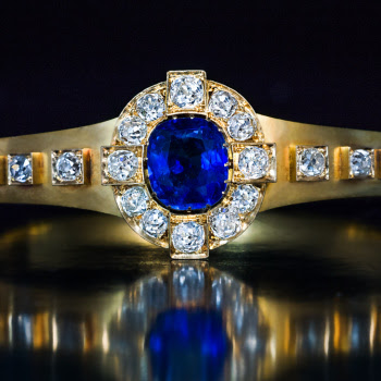 antique sapphire and diamond gold bangle bracelet - Victorian jewelry