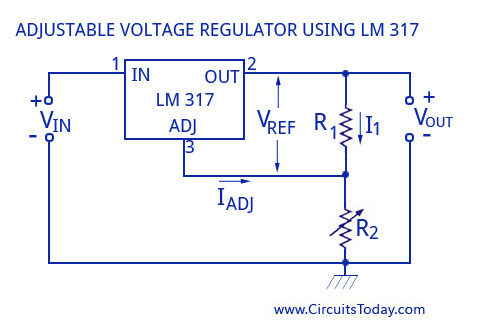 Adjustable Voltage Regulator using LM317