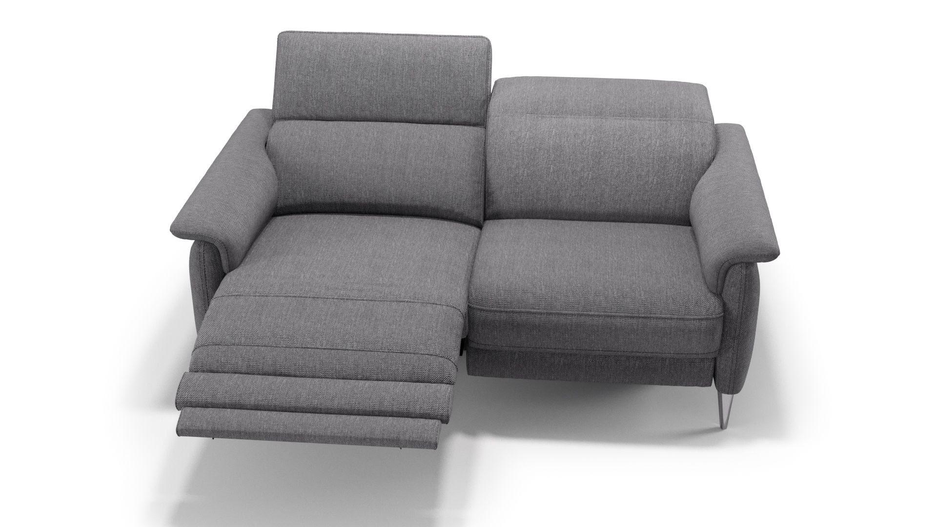 2 Sitzer Sofa Mit Relaxfunktion Elektrisch Leder 5 Grau ...