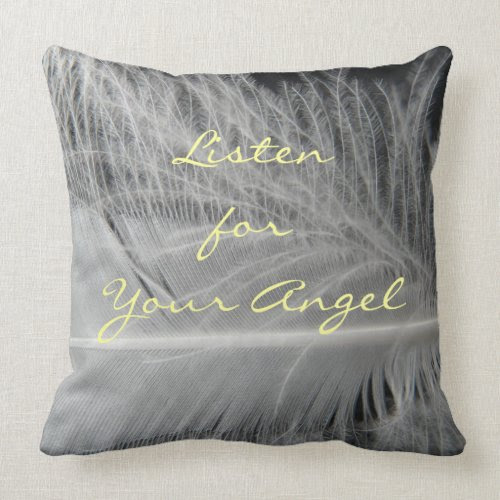 Listen for Your Angel Quote Pillow mojo_throwpillow