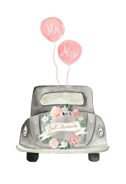 Vintage wedding car   Free Wedding Congratulations Card