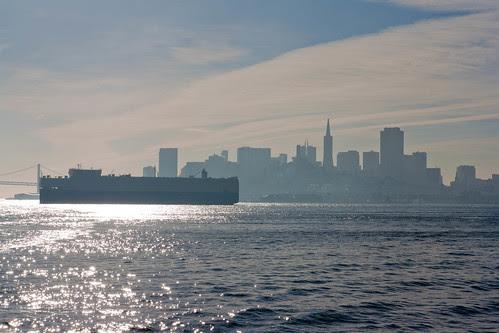Container ship along San Francisco