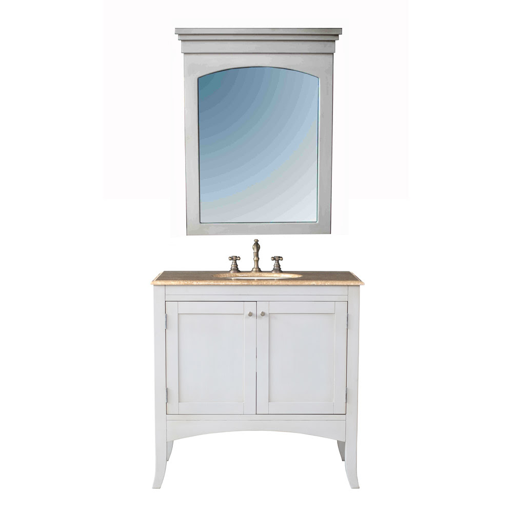 "Stufurhome 36"" Alyssa Single Sink Vanity with Travertine ..."
