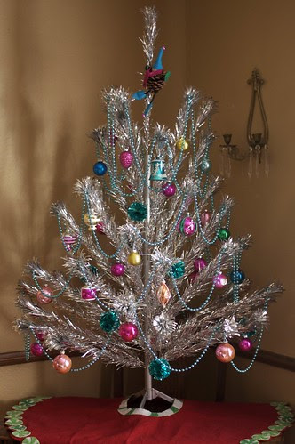 My vintage aluminum Christmas tree in all of its finery