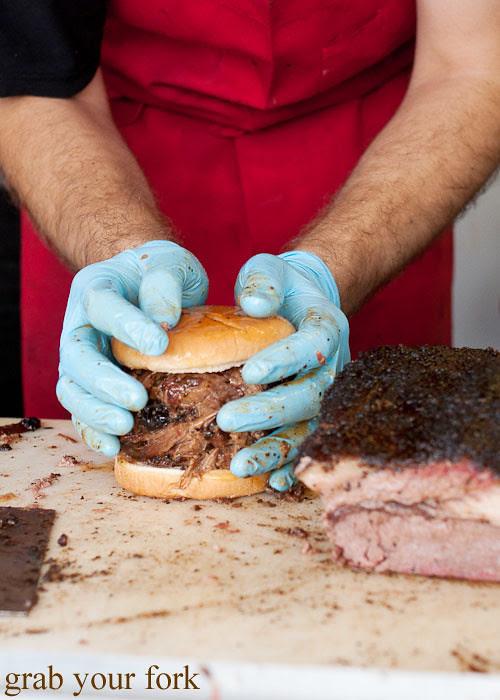 chopped brisket sandwich at la barbecue austin texas