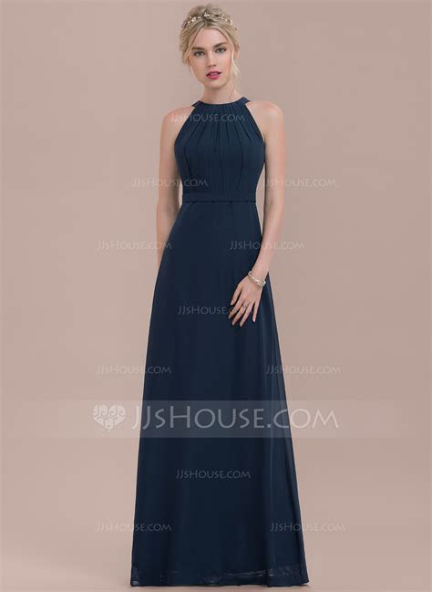 A Line/Princess Scoop Neck Floor Length Chiffon Bridesmaid
