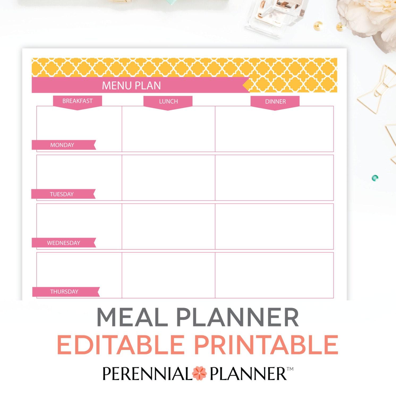 Menu Plan Weekly Meal Planning Template by PerennialPlanner