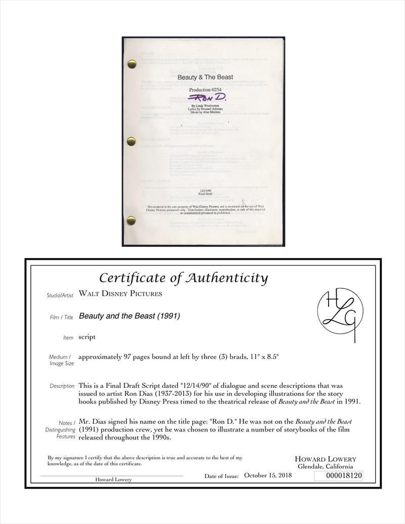 Auctionhowardlowerycom Disney Beauty And The Beast Final Draft