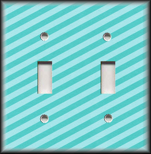Diagonal Stripes Home Decor Aqua Blue Metal Light Switch Plate Cover Switch Plates Outlet Covers