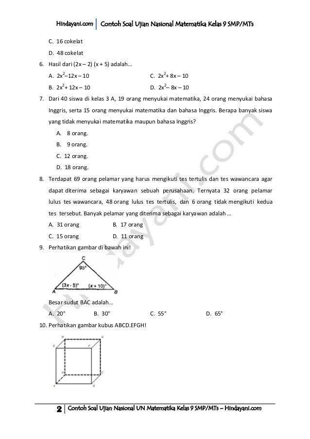 Contoh Soal Matematika Kelas 2