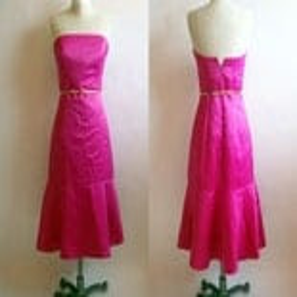 Vintage 80s Strapless Magenta Cocktail Dress