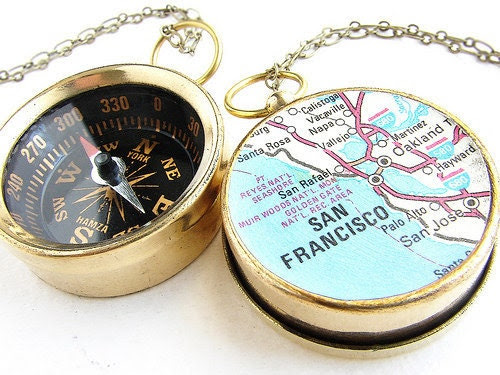 Compass Map Necklace - San Francisco Map, custom map, choose your city map - personalized gifts, anniversary for him her