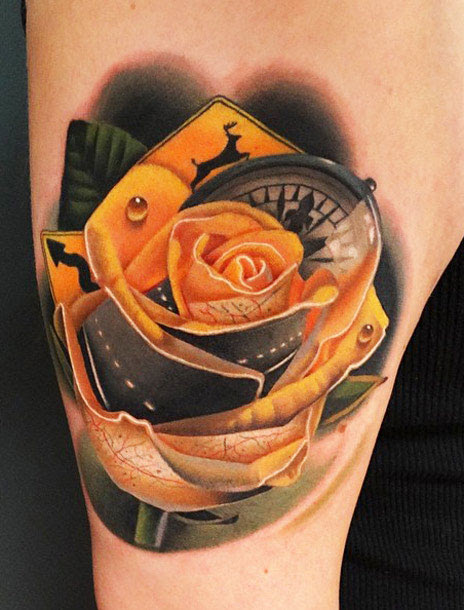 Yellow Rose Tattoo By Andres Acosta Design Of Tattoosdesign Of Tattoos