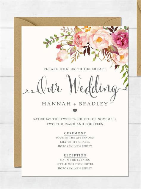wedding invitation : printable wedding invitation